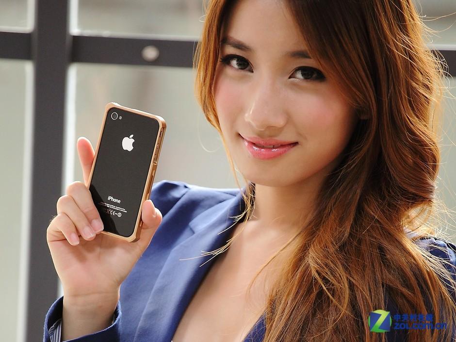 金属套iphone 4/4s保护套美女模特外拍