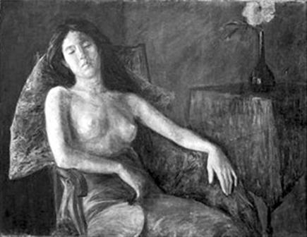 右图 李叔同 半裸女像 布面油彩91 116.5cm约1909年作 中...