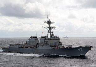 美国拉森号驱逐舰在中国南海活动近照曝光
