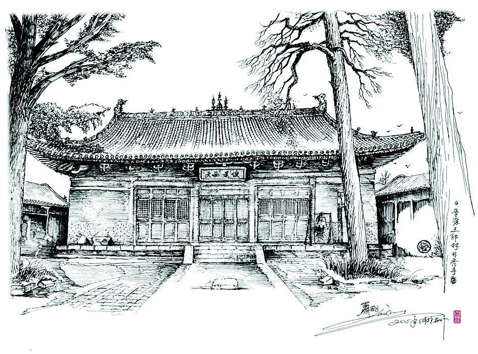 手绘庙图片